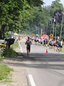About 1.5 miles from the finish. You can see the pain in my posture