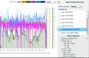 Bike power data. Kept it relatively steady all day.