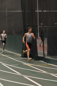 On the indoor track at a recent aquathon